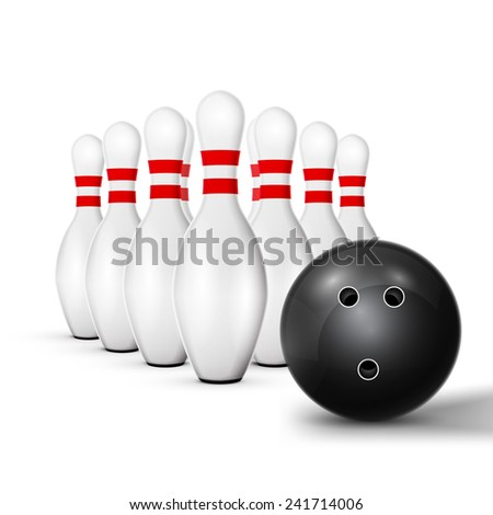 excellent vector illustration, bowling ball crashing into the pins game, with red stripes isolated on white, EPS, white - stock vector