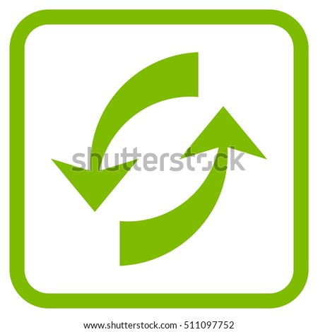 Exchange Arrows eco green vector icon. Image style is a flat pictogram symbol in a rounded square frame on a white background.