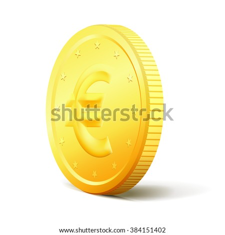 Exchange Money. Realistic golden coin isolated on white background. Golden coin object with realistic shadow. Euro golden coin with glossy edges. - stock vector