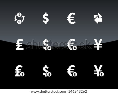 Exchange Rate icons on black background. Vector illustration. - stock vector