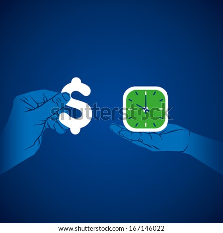 exchange time and money concept , money and clock in hand vector - stock vector