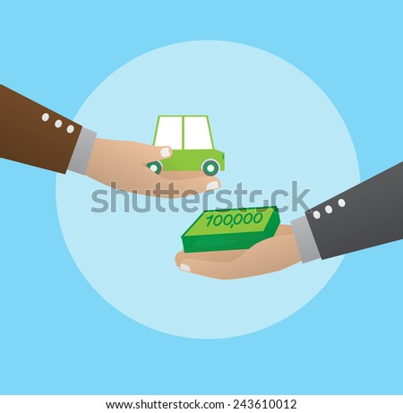 Exchanging money with car - stock vector