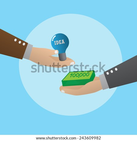 Exchanging money with idea - stock vector