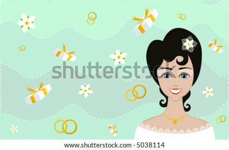 Excited bride anticipating the wedding, on blue background with gift boxes, flowers and rings (vector illustration) - stock vector