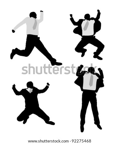 excited businessmen jump - stock vector