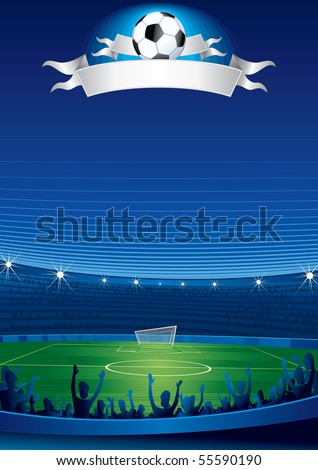 Excited crowd of people at a soccer stadium - stock vector