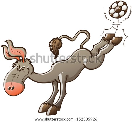 Excited gray donkey with big ears kicking violently a soccer ball with the hooves of his hind legs while smiling enthusiastically and clenching his eyes - stock vector