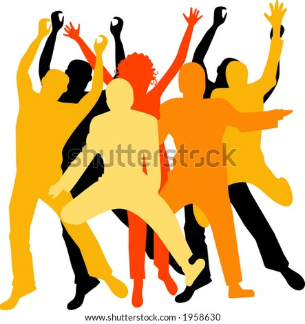 excited group vector use individually or together - stock vector