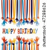 Excited hands birthday card design. - stock photo