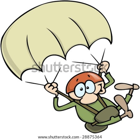 Excited man with helmet skydiving with parachute. - stock vector