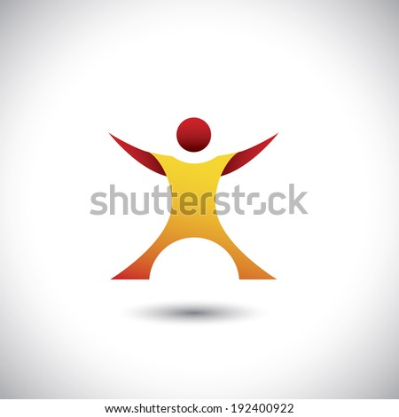 excited person after winning icon - concept vector graphic. This illustration also represents happy, joyful, motivated company employee, executive or fit healthy man in gym, etc - stock vector