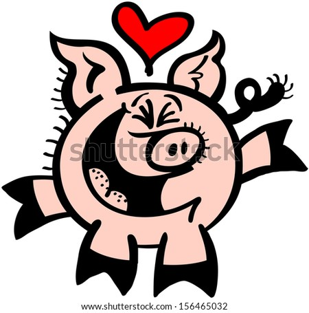 Excited pig with big pointy ears, curly tail and a spherical body feeling head over heels in love, rising his rear legs and smiling animatedly while having a red heart floating above its head - stock vector