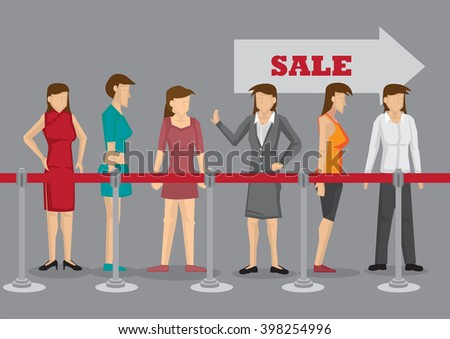 Excited women waiting in line behind stanchion for Sale. Vector cartoon illustration isolated on plain grey background. - stock vector