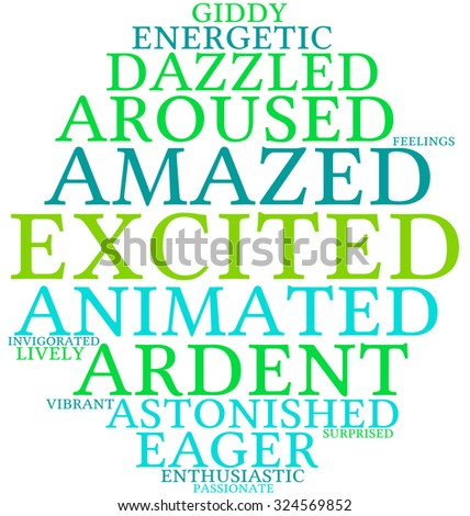 Excited word cloud on a white background.