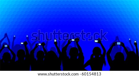 Excited youngsters attending some show, applauding and taking videos, viewed as silhouettes on a blue cellular background. No gradients used. - stock vector
