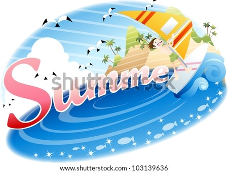 Exciting Summer Vacation and Happy Travel - playing in waves and riding on surf with cute young child in beautiful tropical island resort background with blue sky and shiny water : vector illustration - stock vector