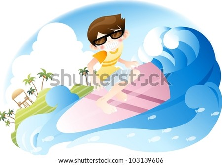 Exciting Summer Vacation and Happy Travel - riding on big surf with cute young boy in beautiful tropical island resort background with blue sky and and white clouds : vector illustration - stock vector