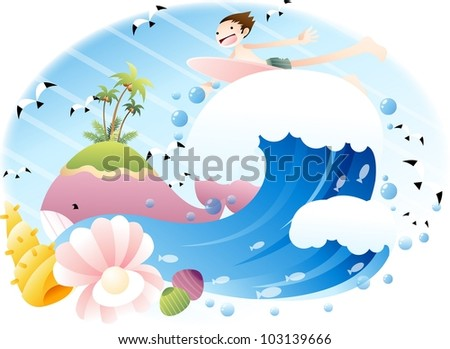 Exciting Summer Vacation and Happy Travel - riding on big wave with cute young boy in beautiful tropical island resort background with blue sky and and funny marine animals : vector illustration - stock vector