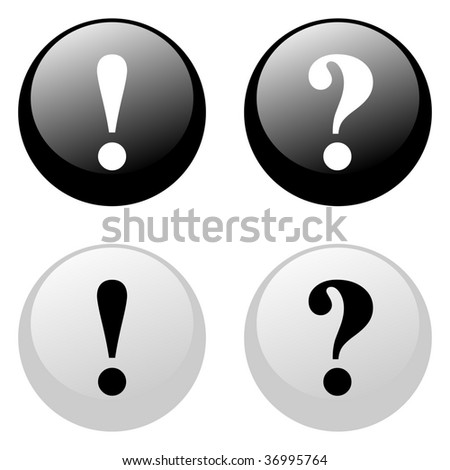 Exclamation and question black and white buttons - stock vector
