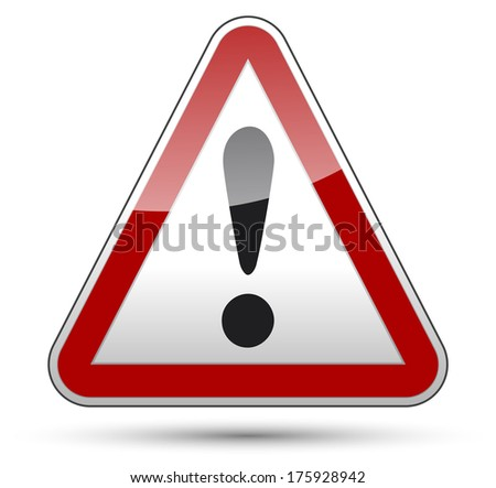 Exclamation mark danger sign with black border, reflection and shadow on white background - stock vector