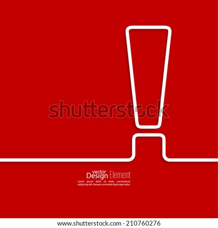 Exclamation mark icon. Attention sign icon. Hazard warning symbol  in red background. vector - stock vector
