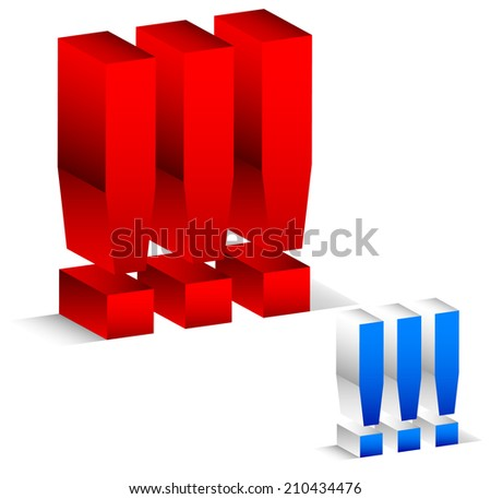 Exclamation marks in red and blue versions - stock vector