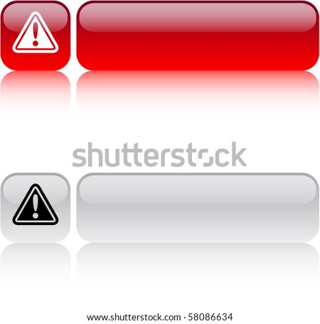 Exclamation sign glossy square web buttons. - stock vector