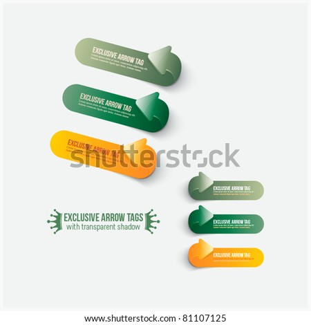 Exclusive arrow tags with transparent shadow - stock vector