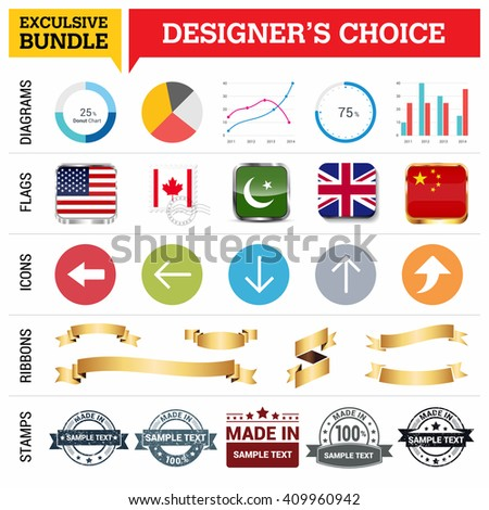 Exclusive Designer's Choice Bundle. Set of Diagrams, Country Flags buttons various style, icon set, Ribbon banner template and Made in Stamps design element - stock vector