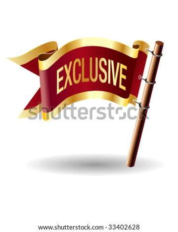 Exclusive e-commerce icon on royal vector flag button good for use in print, on websites, or on promotional materials. - stock vector