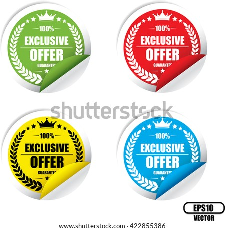Exclusive offer Colorful Label, Sticker, Tag, Sign And Icon Banner Business Concept, Design Modern. Vector illustration. - stock vector