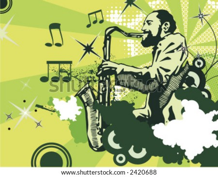 Exclusive Series of Abstract Musician Backgrounds. Check my portfolio for much more of this series as well as thousands of similar and other great vector items. - stock vector