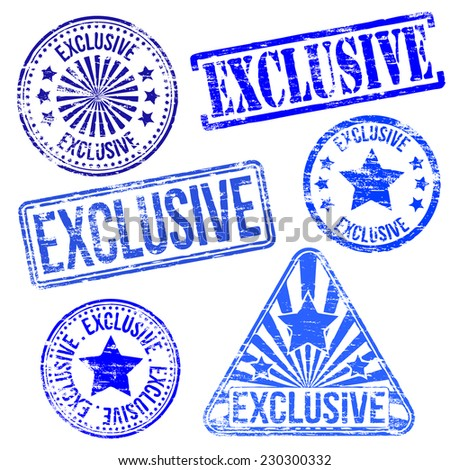 Exclusive stamps. Different shape vector rubber stamp illustrations  - stock vector