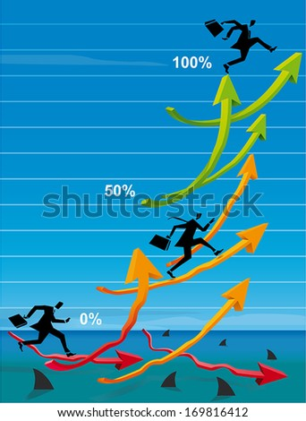 Executives climbing to higher profits in a sea of sharks - stock vector