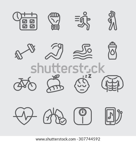 exercise and health line icon - stock vector