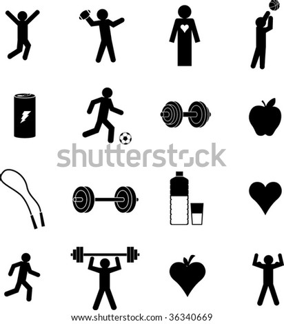 exercise and healthcare symbols set - stock vector