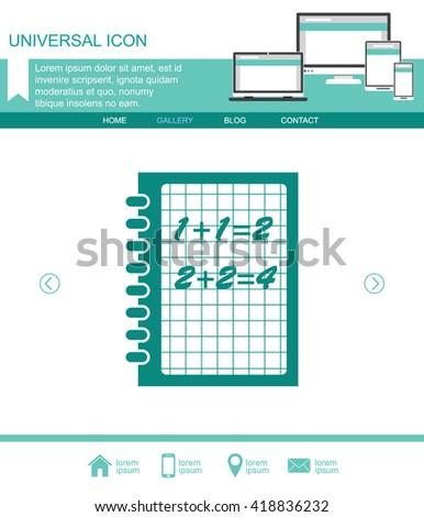 Exercise book vector. Mathematics icon. - stock vector