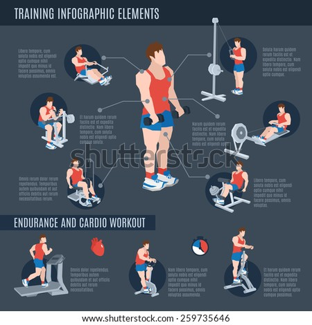 Exercise machines infographics set with man figures on training apparatus in sport club vector illustration - stock vector