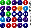 exercise sports and health care button set - stock photo
