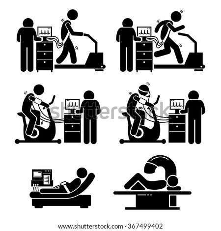 Exercise Stress Test for Heart Disease Stick Figure Pictogram Icons - stock vector