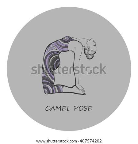 Exercise wear vector illustration. Leotard for yoga practice. Op-art print. Woman in camel pose. Grey background, full color linear graphic. Easy to scale.