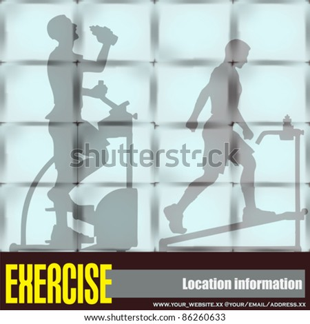 Exercise Window, Vector Flyer of a Health Club or Gymnasium - stock vector