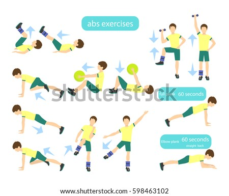 Exercises Kids Set Workout Boys Abs Stock Photo Photo Vector