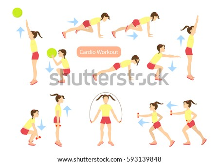 Exercises Kids Set Workout Girls Cardio Stock Vector 593139848