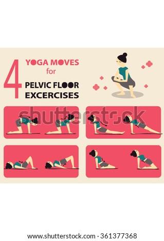exercises strengthen pelvic floor muscles stock vector 361377368