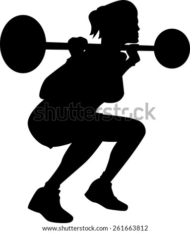 Exercising woman silhouette - stock vector