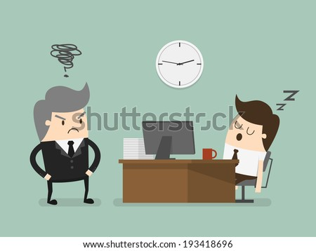 Exhausted businessman falling asleep at his office desk - stock vector