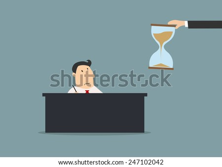 Exhausted cartoon businessman sitting at workplace in office and looking at boss hand with hourglasses suited for deadline or time management business concept design - stock vector