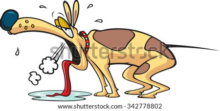 Exhausted Dog  Cartoon exhausted Dog. Layered vector file available. - stock vector