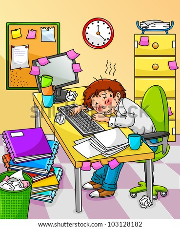 exhausted worker with too much work to do - stock vector
